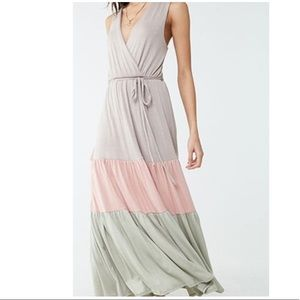 Forever 22 tiered colorblock maxi dress